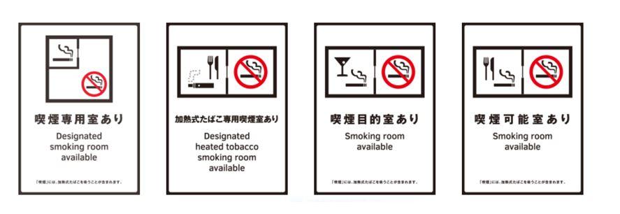 各種喫煙室があることを示す標識